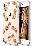 COOLWEE iPhone SE 2020 Hülle 2nd Generation, iPhone 8 Hülle, Klar iPhone 7 Hülle Rose Gold Glänzend Glitzer Cool Dünn Floral Soft TPU Bumper Schutzhülle für Apple iPhone 8 4,7 Zoll Rose Gold Ananas