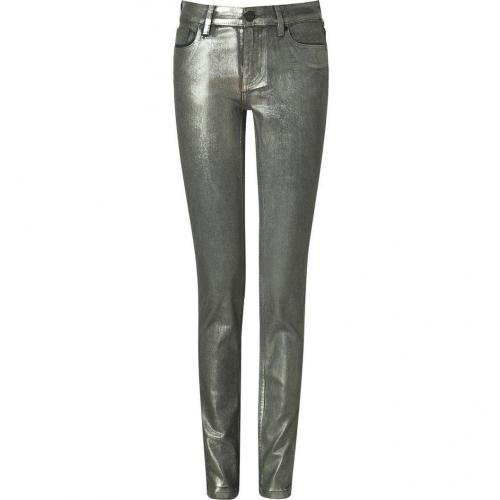 2nd Day Silver Metallic Skinny Coated Jeans