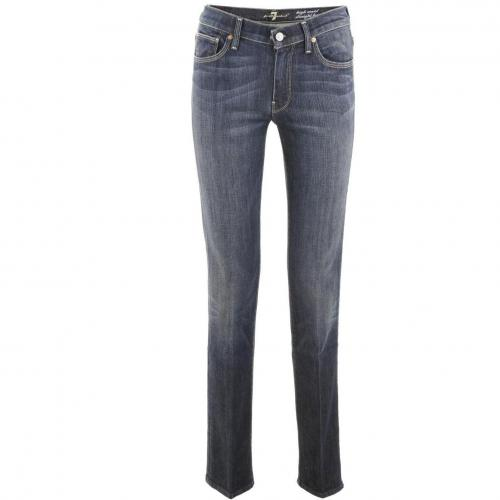7 for all mankind Blue High Waist Straight Jeans
