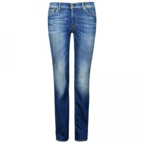 7 For All Mankind - Hüftjeans Modell Mid Rise Straight Leg HS Farbe Blaue Waschung