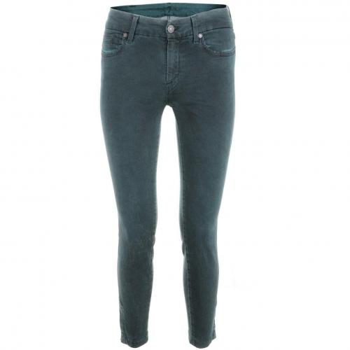 7 for all mankind Washed Green Tailored Cropped Skinny