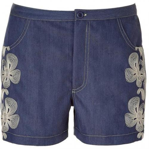 Anna Sui Indigo Embroidered Denim Shorts