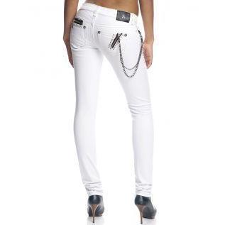 Antique Rivet Damen Strass Jeans Jett Weiß
