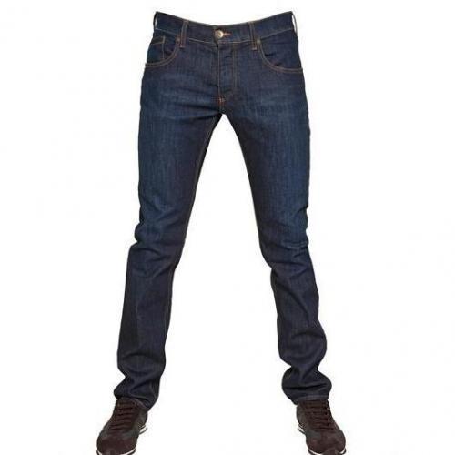 Armani Jeans - 18,5Cm Low Waist Stretch Slim Fit Jeans Dark Blue
