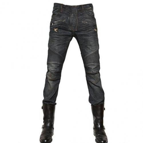 Balmain - 18Cm Biker Pin Tuck Destroyed Jeans