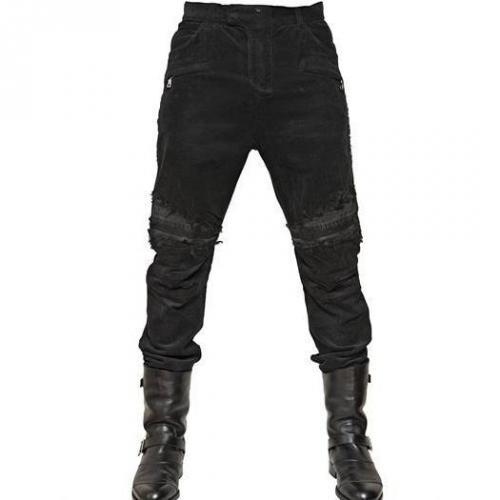 Balmain - 18Cm Corduroy Biker Jeans