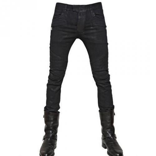 Balmain - 18Cm Gewachste Enge Stretch Denim Jeans