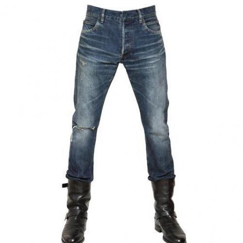 Balmain - 18Cm Sechs Taschen Kaputte Denim Jeans