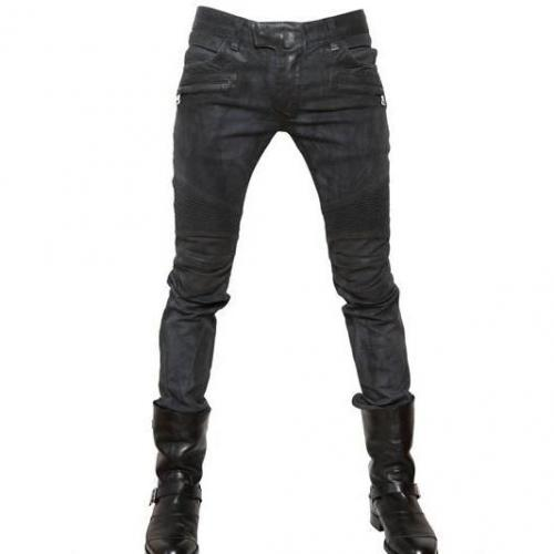 Balmain - 18Cm Stretch Pintuck Gewachste Enge Jeans