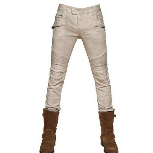 Balmain - 18Cm Stretch Pintuck Slim Biker Jeans