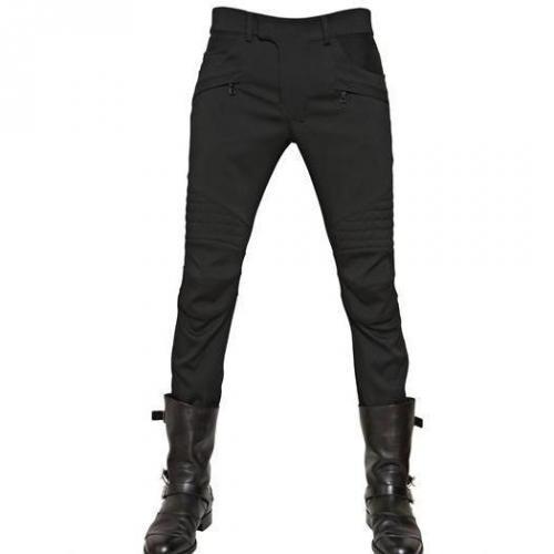 Balmain - 18Cm Stretch Schwere Woll Jersey Jeans
