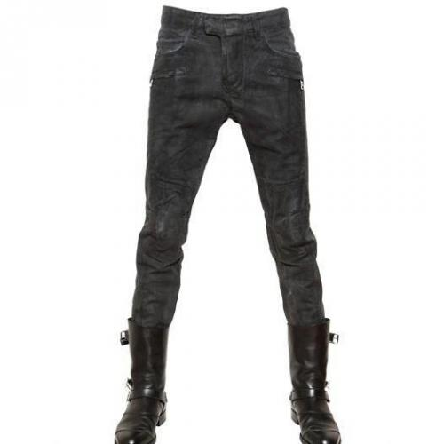 Balmain - 18Cm Wax Coated Baumwoll Canvas Jeans