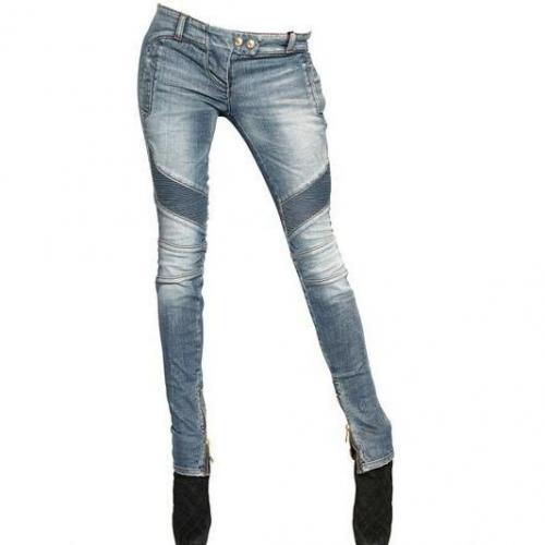 Balmain - Biker Stretch Baumwoll Denim Jeans