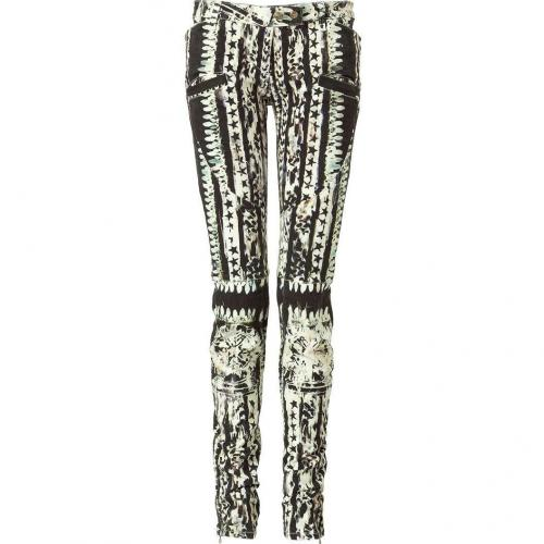 Balmain Black and White Patterned Low Rise Pants