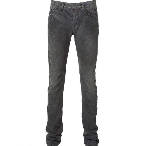 Balmain Washed Black Slim Knee Stitch Jeans