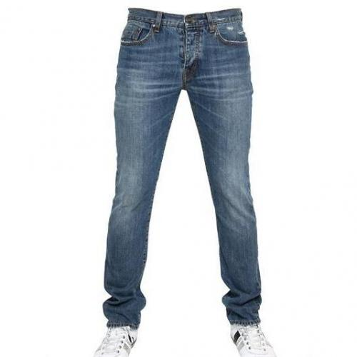 Bikkembergs - 18Cm Distressed Denim Jeans Blue