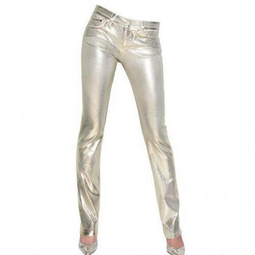 Blumarine - Handgewachste Stretch Baumwoll Denim Jeans