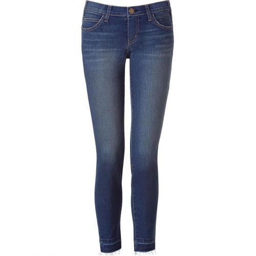 Current Elliott Dark Blue Washed Low-Rise Jeans