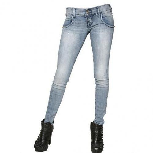 Cycle - Washed Denim Power Stretch Skinny Jeans
