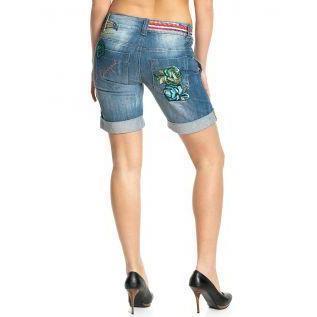 Desigual Damen Jeans Short Pajaroska