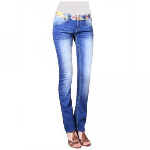 Desigual - Slim Modell Flores Waist Farbe Blaue Waschung