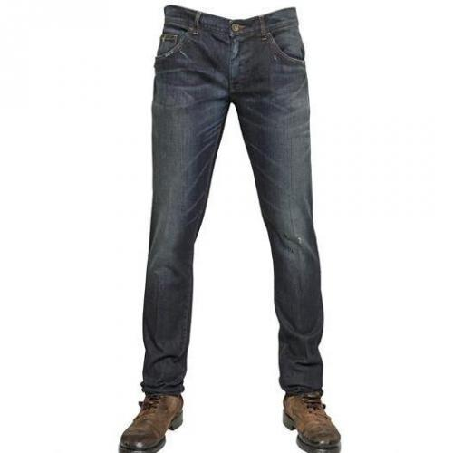 Dolce & Gabbana - 17Cm Stretch Distressed Denim Jeans Dark Blue