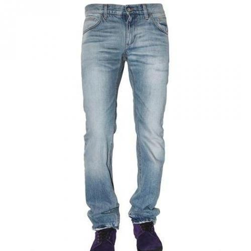 Dolce & Gabbana - 19Cm Basic Denim Gold Fit Jeans Hellblau