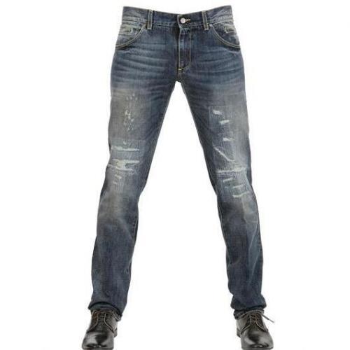 Dolce & Gabbana - 19Cm Destroyed Denim 14 Gold Jeans Dark Blue Washed