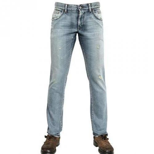 Dolce & Gabbana - 19Cm Destroyed Denim 14 Gold Jeans Light Blue