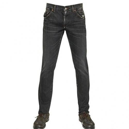Dolce & Gabbana - 19Cm Distressed Denim 14 Gold Jeans