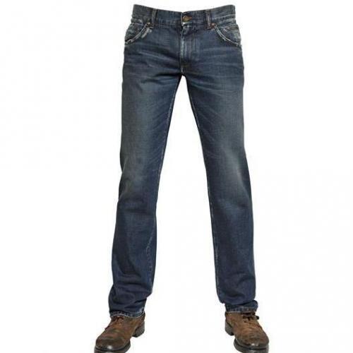 Dolce & Gabbana - 19Cm Distressed Denim 14 Gold Jeans Dark Blue