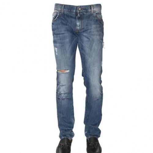 Dolce & Gabbana - 19Cm Distressed Denim Gold Fit Jeans Blau Washed
