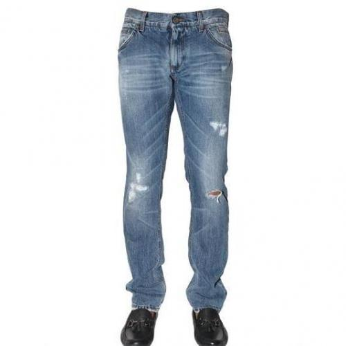 Dolce & Gabbana - 19Cm Distressed Denim Gold Fit Jeans Blue Used Look