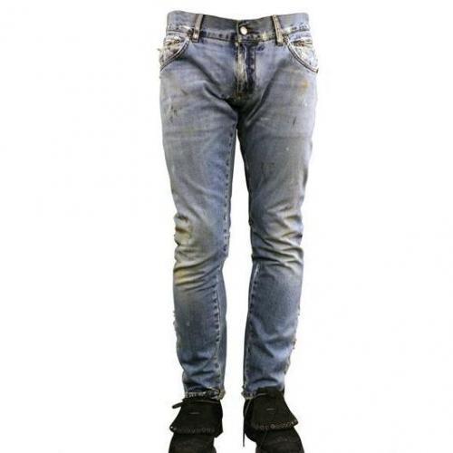 Dolce & Gabbana - 19Cm Gold Beschmutzte Stretch Jeans