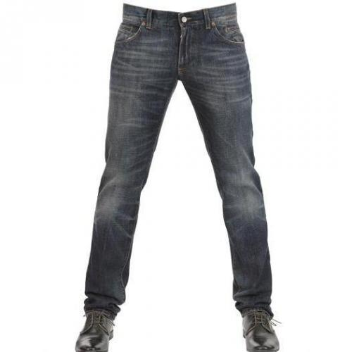 Dolce & Gabbana - 19Cm Whiskered Denim 14 Gold Jeans Blue