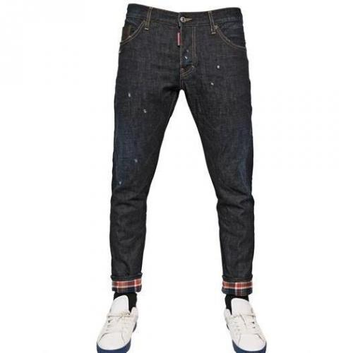 Dsquared - 16.5Cm Clean Jap Kenny Twist Denim Jeans Karomuster Innen