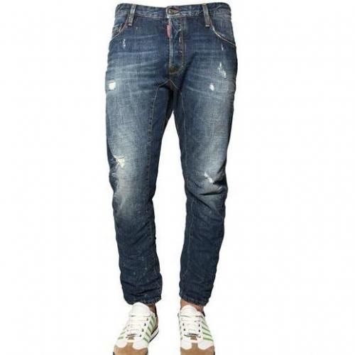 Dsquared - 18Cm Bemalte Spots Denim Biker Jeans