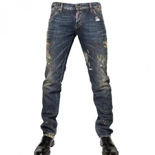 Dsquared - 19Cm Bemalte Denim Slim Fit Jeans