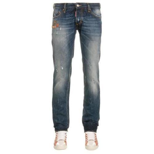 Dsquared Jeans Slim Jean Washed Denim Mid Blue
