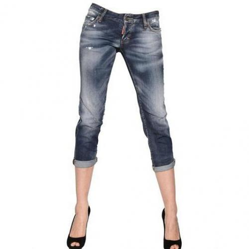 Dsquared - Super Slim Washed Stretch Denim Jeans Light Blue Painter