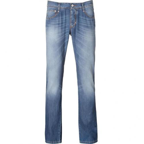 Ermanno Scervino Blue Washed-Out Regular Jeans