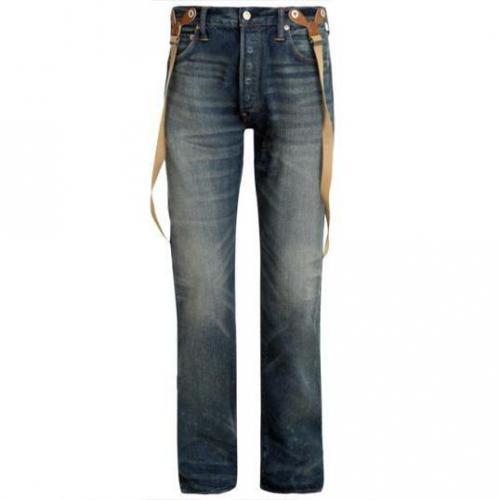 Evisu - Hüftjeans BKLE-BK Distressed Dai. JLR Deck Wash W/ Suspender Bla