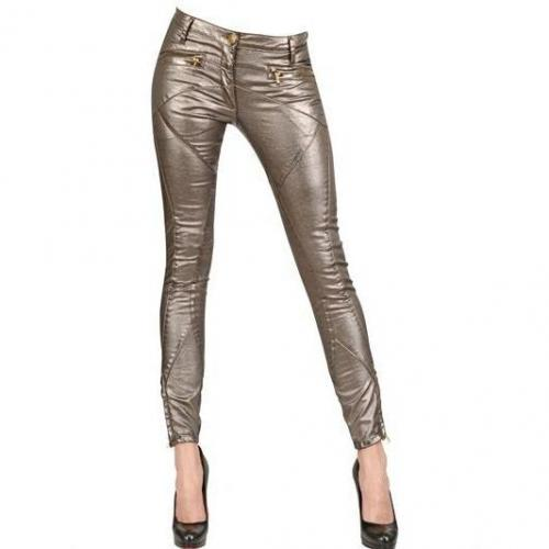 Faith Connexion - Gewachste Stretch Baumwoll Denim Biker Jeans Bronze Glitzer