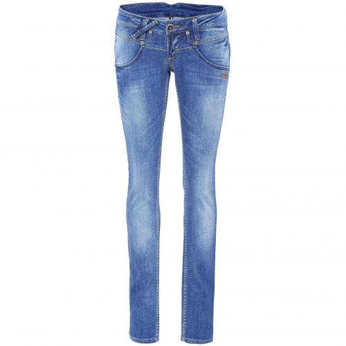 Gang Damen Jeans Gwen Slim 2126 Mid Blue Washed Denim