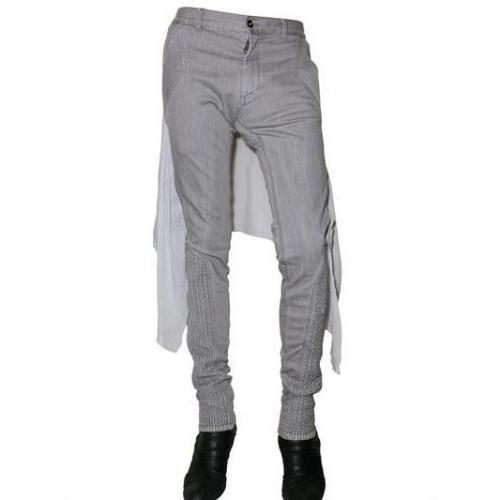 Gareth Pugh - 18Cm Seiden Chiffon Panneled Denim Jeans