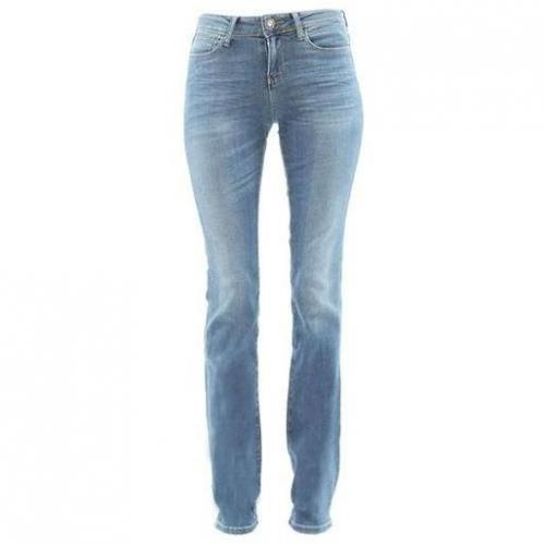 Guess - Slim Modell Authentic Cigarette Silky Soft Blue Farbe Helle Waschung