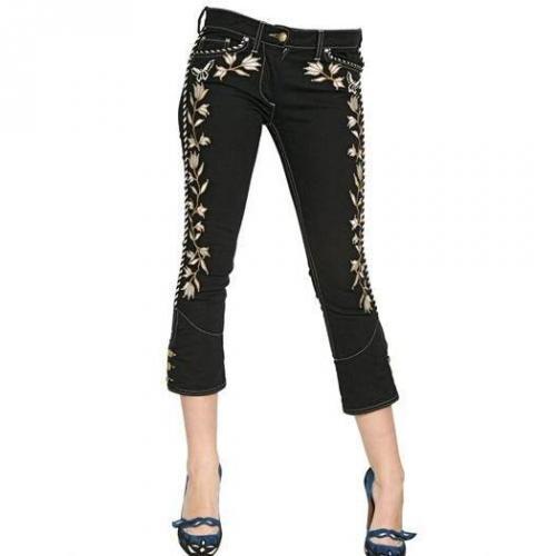 Isabel Marant - Bestickte Stretch Baumwoll Denim Jeans Black Gold