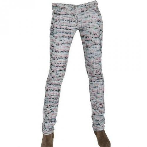 Isabel Marant Ètoile - Bedruckte Baumwoll Corduroy Jeans White Colored