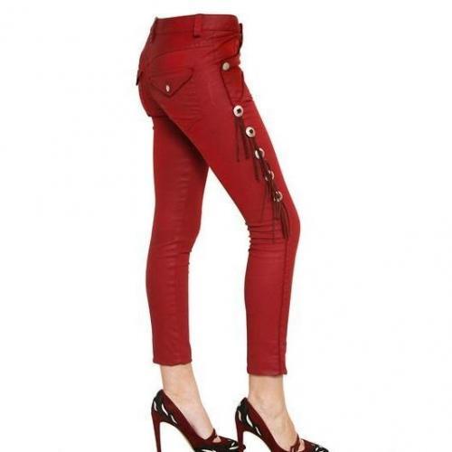 Isabel Marant - Wildleder Fransen Gewachste Baumwoll Denim Jeans