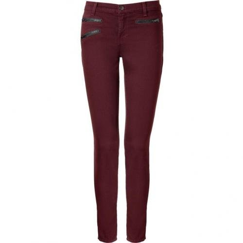 J Brand Jeans Lava Bordeaux Triple Zip Zoey Skinny Jeans